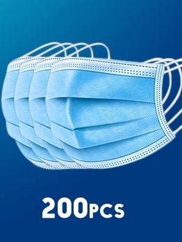 200 Pcs Disposable Face Masks Anti Anti-Foaming Non-Woven Filter White 3ply Face Masks Set