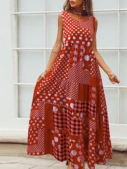 Bohemian Vintage Dots Plaid Sleeveless Maxi Dress