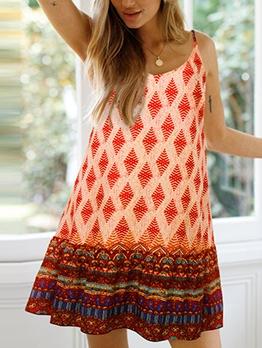Sweet Flower Printd Backless Slip Ladies Dress