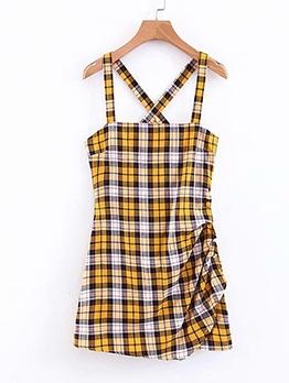 Hot Sale Plaid Back Cross Summer Dresses