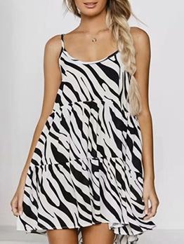Scoop Neck Animal Printed Camisole Ladies Dress