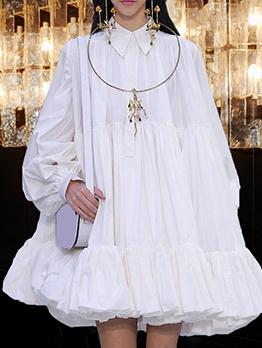 Elegant Turn-Down Collar Loose Long Sleeve Dress