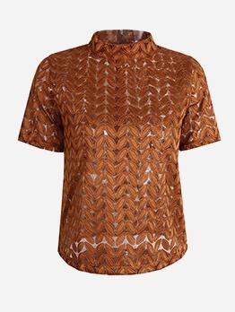 Back Zipper Lace O Neck Short Sleeve T Shirts For Women