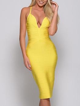Seductive Deep v Side Slit Bodycon Dress