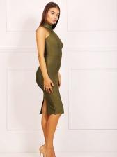 Elegant Solid Mock Neck Sleeveless Bodycon Dress