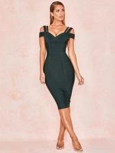 Seductive Back Zip Solid Ladies Bodycon Dress