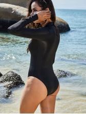 Zipper Long Sleeve One Piece Black Swimsuit