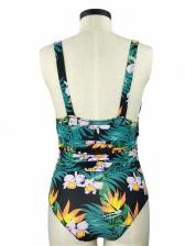 V Neck Printed Sleeveless One Piece Swimsuit