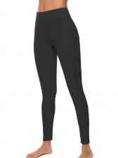 Gauze Patchwork High Waist Sports Leggings With Pocket