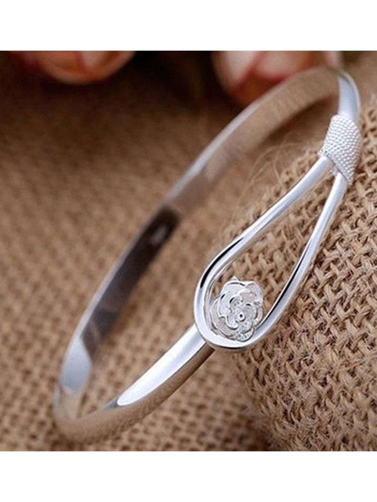 Simple Design Silvery Rose Bracelets For Women