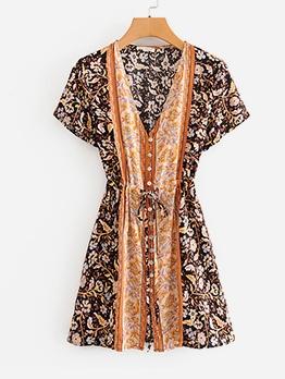 Vintage Tribal Print Button Down Ladies Dress
