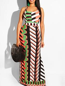 Stylish Geometric Printed Slip Summer Maxi Dresses