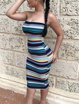 Colorful Striped Midi Tube Tops Dresses