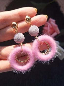 Sweet Plush Round Long Cute Earrings