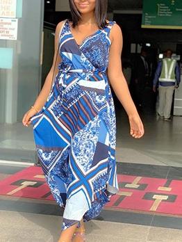 V Neck Geometric Printed Sleeveless Maxi Dress