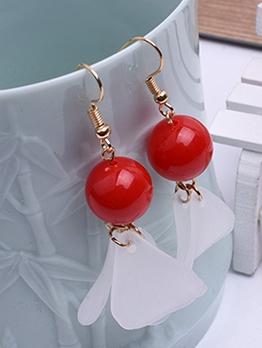 Solid Color Bead Matte Petal Dangle Earrings
