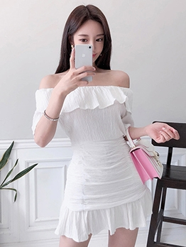 Slim Fit Ruffled Trim Off Shoulder Ladies Dress