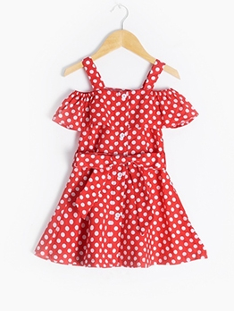 Summer Off The Shoulder Polka Dot Dress For Girls