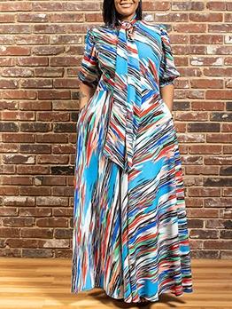 Bow Neck Short Sleeve Print Plus Size Maxi Dress