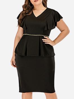 V Neck Ruffle Sleeve Black Plus Size Dress