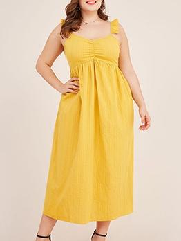 Sweet Style V Neck Yellow Sleeveless Maxi Dress