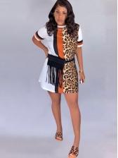 Crew Neck Leopard Panel Casual t Shirt Dress