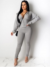 Front Zipper Hooded Collar Solid Sport Wear Two Piece Sets