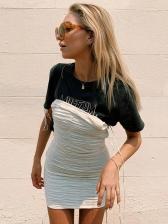 Versatile Draped Solid Slip Mini Bodycon Dress