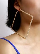 Punk Style Geometric Tiny Zircon Decor Statement Earrings
