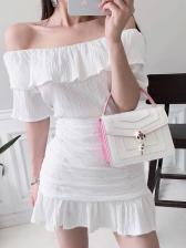Slim Fit Ruffled Trim Off Shoulder Ladies Dress
