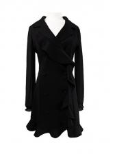 Flounced Hem Double-Breasted Blazer Dress For Women