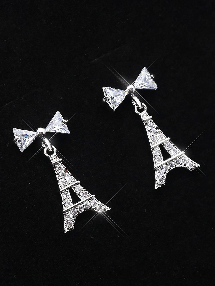 Chic Design Rhinestone Bow Tower Drop Earrings