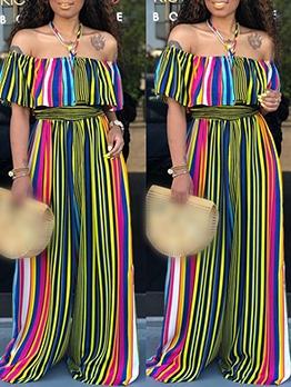 Colorful Vertical Stripes Loose Off The Shoulder Jumpsuit