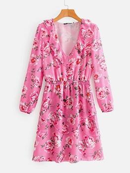 Vintage Style V Neck Floral Pink Dress
