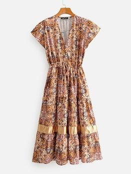 Drawstring Smart Waist V Neck Print Dress