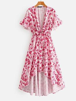 Elastic Waist Deep V Neck Print Maxi Dress