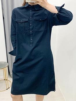 Vintage Long Sleeve Black Plus Size Shirt Dress