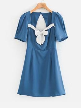 Backless Bow Wrap Blue Short Sleeve A-Line Dress