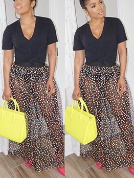 Black Plain T Shirt With Colorful Dot Gauze Maxi Skirt