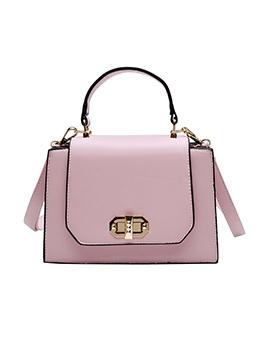 Twist Lock Detachable Belt Solid Shoulder Bag With Handle
