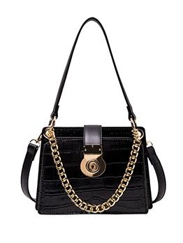 Trapezoidal Stone Grain Thick Chain Women Shoulder Bags