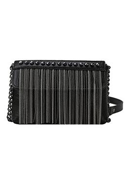 Rivets Tassel Flat Chain Crossbody Bags For Women