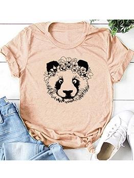 Cartoon Bear Print Crew Neck Cotton T Shirt