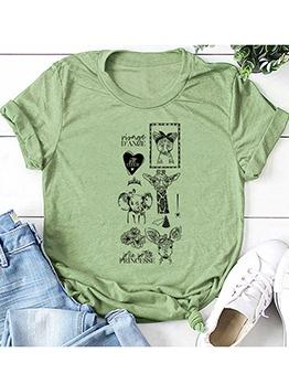 Trendy Animal Print Short Sleeve Cotton T Shirt
