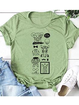 Crew Neck Animal Print Loose Cute T-shirt