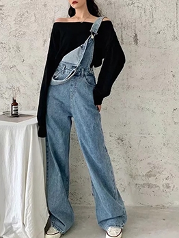 Loose Solid Wide Leg Ladies Denim Overalls