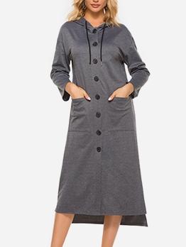 Single-Breasted Long Sleeve Gray Hoodies Dress