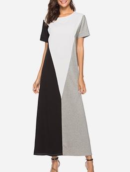 Three Color Block Short Sleeve Maxi Dress Casual