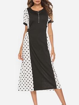Contrast Color Polka Dots Maxi Dress For Women