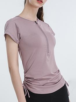 Solid Short Sleeve Drawstring Sport T-shirt